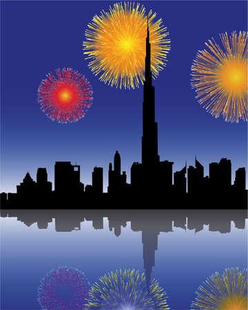 fuegos artificiales en Dubai Ilustración de vector
