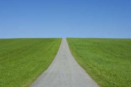 grassy knoll: endless road Stock Photo