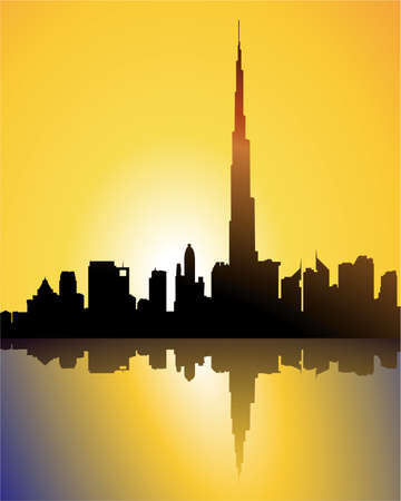 skylines: burj dubai at sunset Illustration