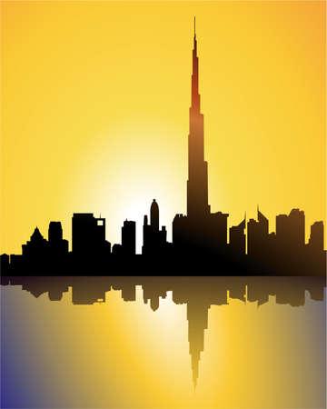 burj dubai at sunset Stock Vector - 5550284