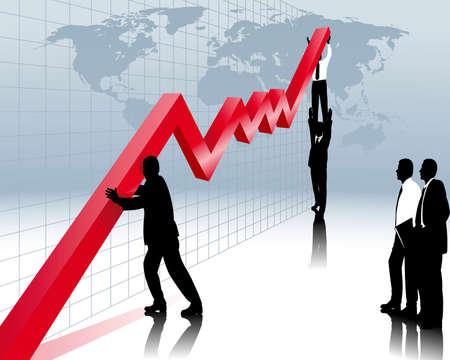 samen werken aan economische herstel  Vector Illustratie