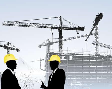 fermo: architetti in un cantiere edile  Vettoriali