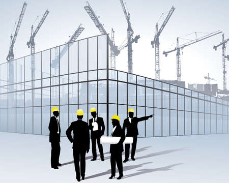 architects on a construction site Stock Vector - 6385357