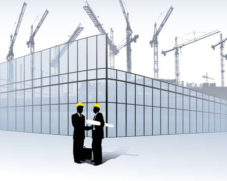 architects on a construction site Stock Vector - 6385356