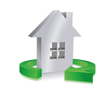 conciencia ambiental: casa ecol�gica Vectores