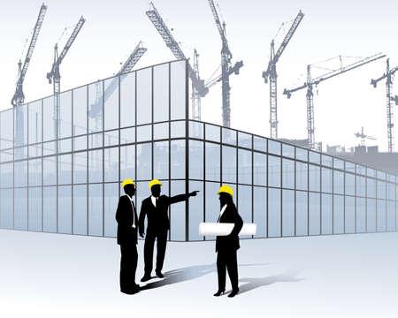 ingegneri: architetti su un sito di costruzione Vettoriali