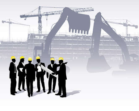 architects on a construction site Stock Vector - 6509244