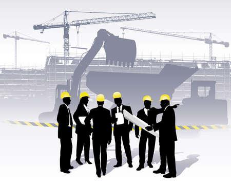 construction management: architetti su un sito di costruzione Vettoriali