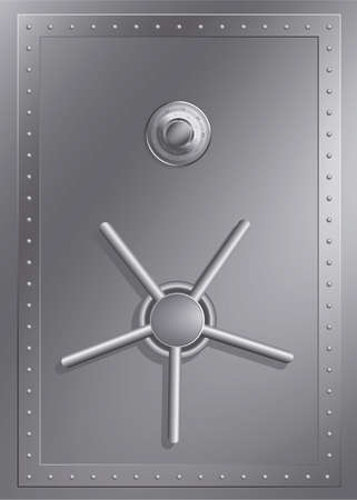 combination safe: Steel safe with combination lock Illustration