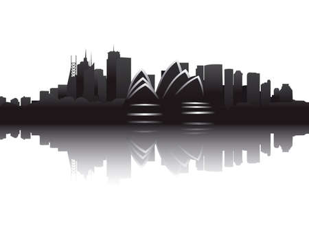 place of interest: Skyline of Sydney Illustration