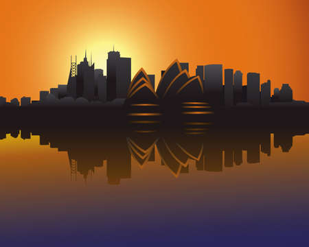 Skyline van Sydney bij zons ondergang