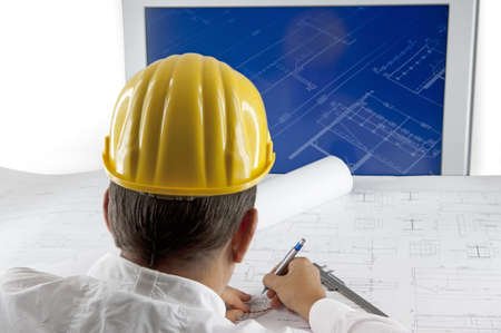 Architect is working Banque d'images