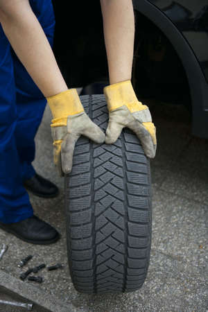 summer tire: change of tyres Stock Photo