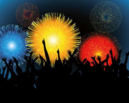 lebensfreude: Abbildung von Fireworks und ein festival  Illustration