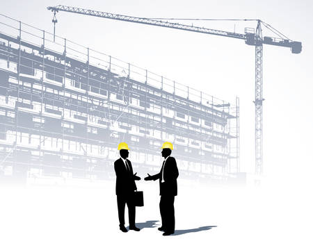 building construction site: architects on a construction site