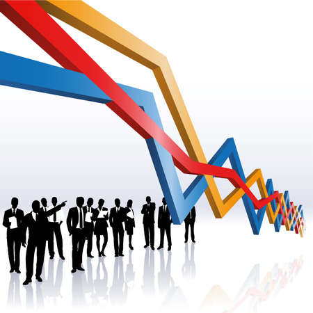 market trends: business people and a sales graph