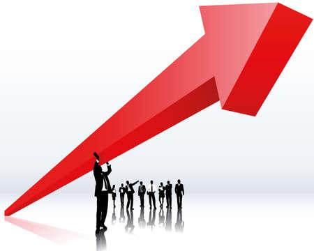 장점: 상승 추세 및 경력 일러스트