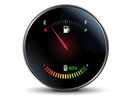 tacometro: Gasolina y electricidad