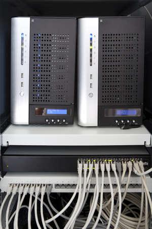 administrador de empresas: Sistemas RAID y red Foto de archivo
