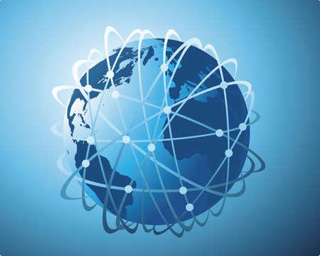 en todo el mundo de transferencia de datos Ilustración de vector