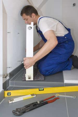 radiator installatie Stockfoto