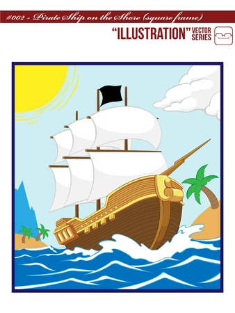 Pirate Ship on the Shore (Square frame)