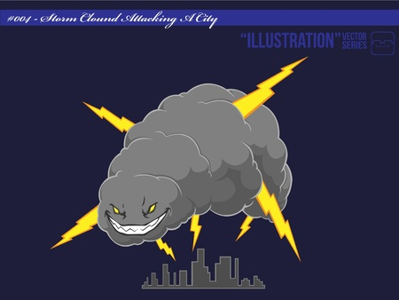 storm cloud: Storm Cloud Attacking A City Illustration