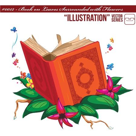 quran: Ilustraci�n # 0012 - Libro sobre hojas rodeado de flores