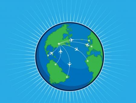 flightpath: Airplane Route Around the World Globe