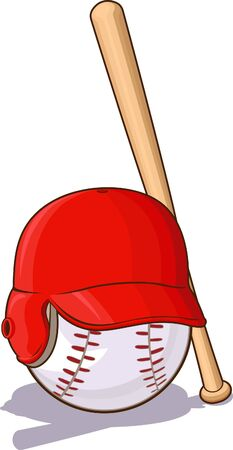 Baseball s Ball with Helmet and Bat Vector