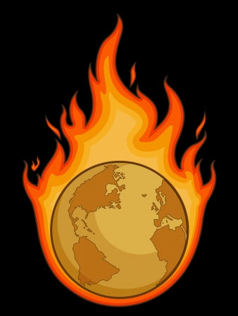 Burning Desolated Earth Stock Vector - 16899909