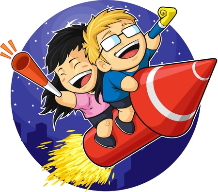 Cartoon of Boy & Girl Riding New Year Firework