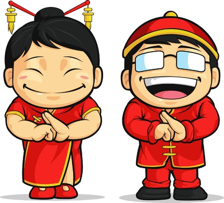Cartoon of Chinese Boy & Girl Vector