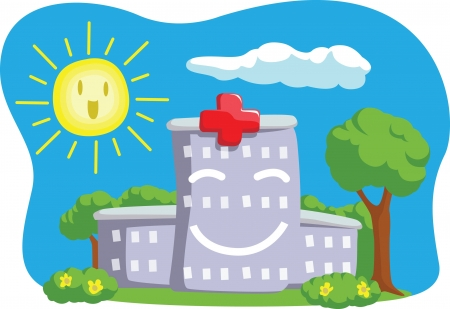 Cartoon of Funny Hospital Building Vector