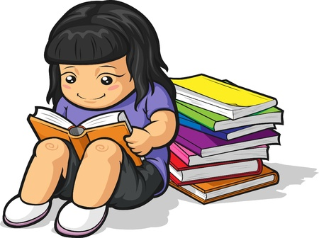 Cartoon of Girl Student Studying & Reading Book