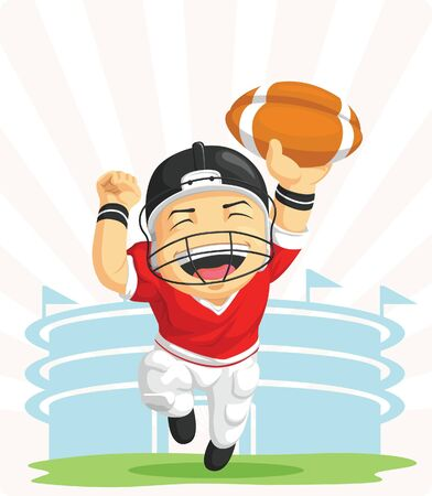 Cartoon of Happy American Football Player Vector