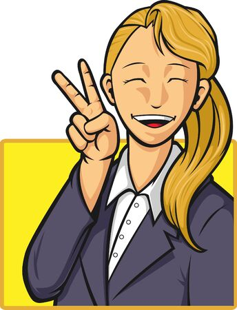 Cartoon of Happy Office Worker Girl Vector