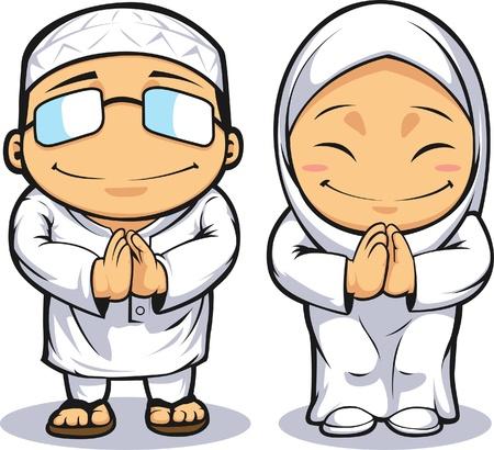 hijab: Cartoon of Muslim Man & Woman Illustration