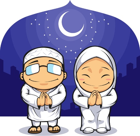 Cartoon of Muslim Man Woman Greeting Ramadan Vector