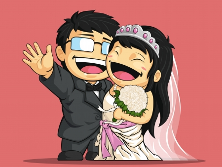 Cartoon of Happy Wedding Bride & Groom
