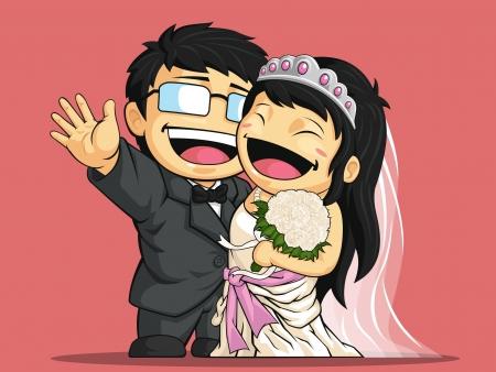 cartoon bouquet: Cartoon of Happy Wedding Bride & Groom