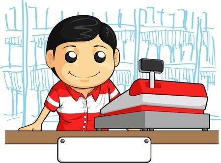 maquina registradora: Cajero Empleado con sonrisa amistosa