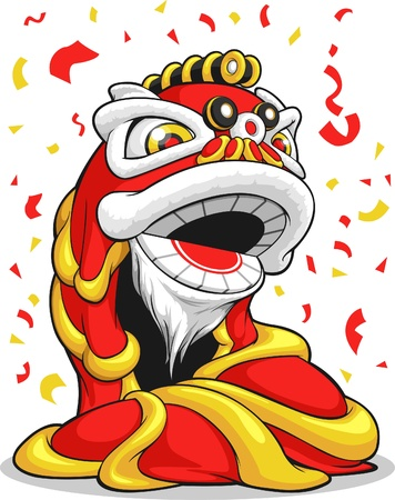 lion dessin: Lion Chinois Nouvel An Illustration