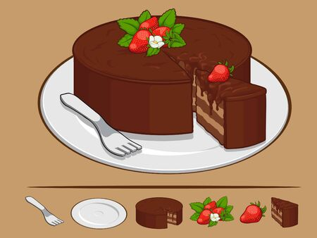 rebanada de pastel: Pastel de chocolate con fresa de la Ilustración Vectores
