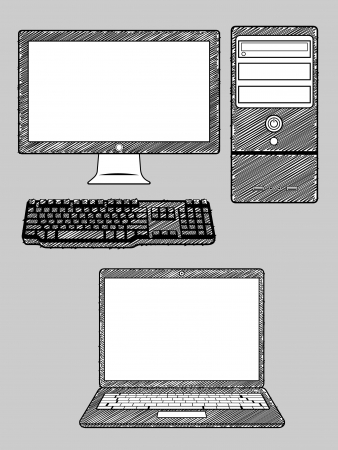 blank computer screen: Computer and Laptop