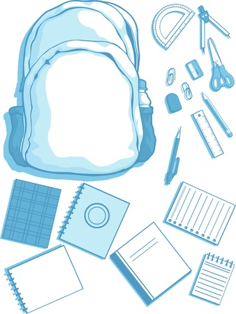 Customizable Vector Kits of School Bag and School Supplies Illustration
