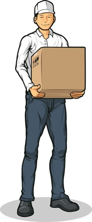 hand truck: Delivery Man Bringing Carton Box Packet Illustration
