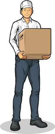 mail man: Delivery Man Llevar Paquete Caja de cart�n Vectores
