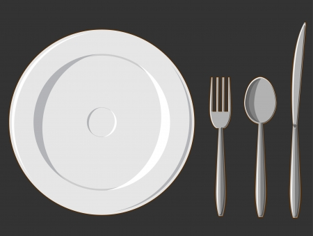 formal place setting: Dining Set - Plate, Fork, Spoon & Knife Illustration