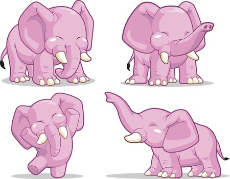 elephant nose: Elephant in Several Poses - Standing, Dancing & Raising Its Trunk Illustration